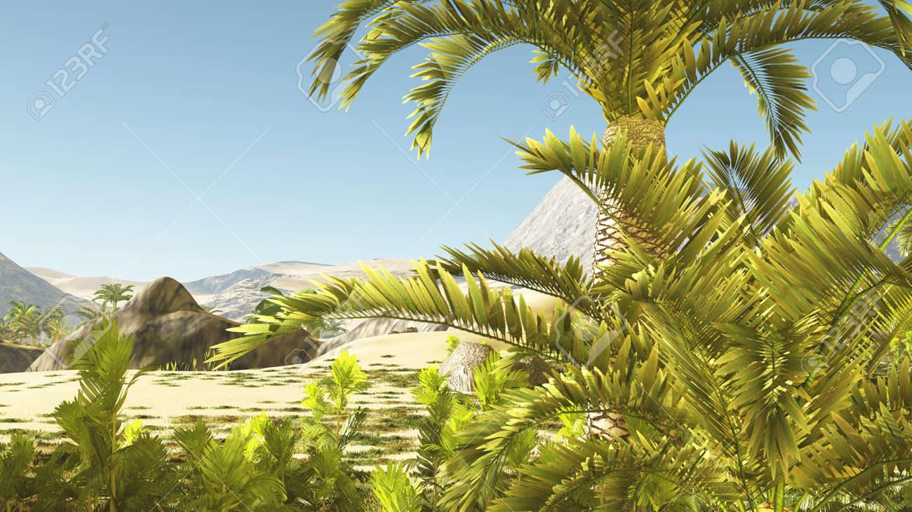 Beautiful natural background -African oasis 3d rendering - 151616619