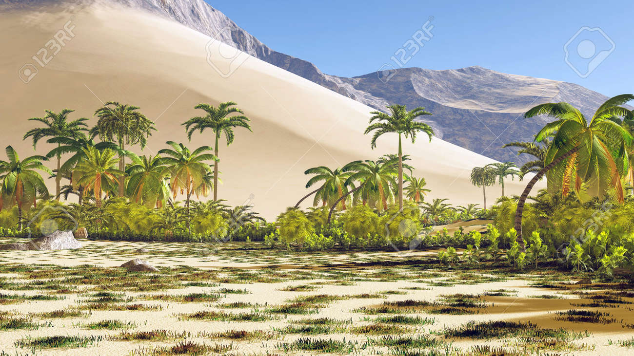 Beautiful natural background -African oasis 3d rendering - 151583243