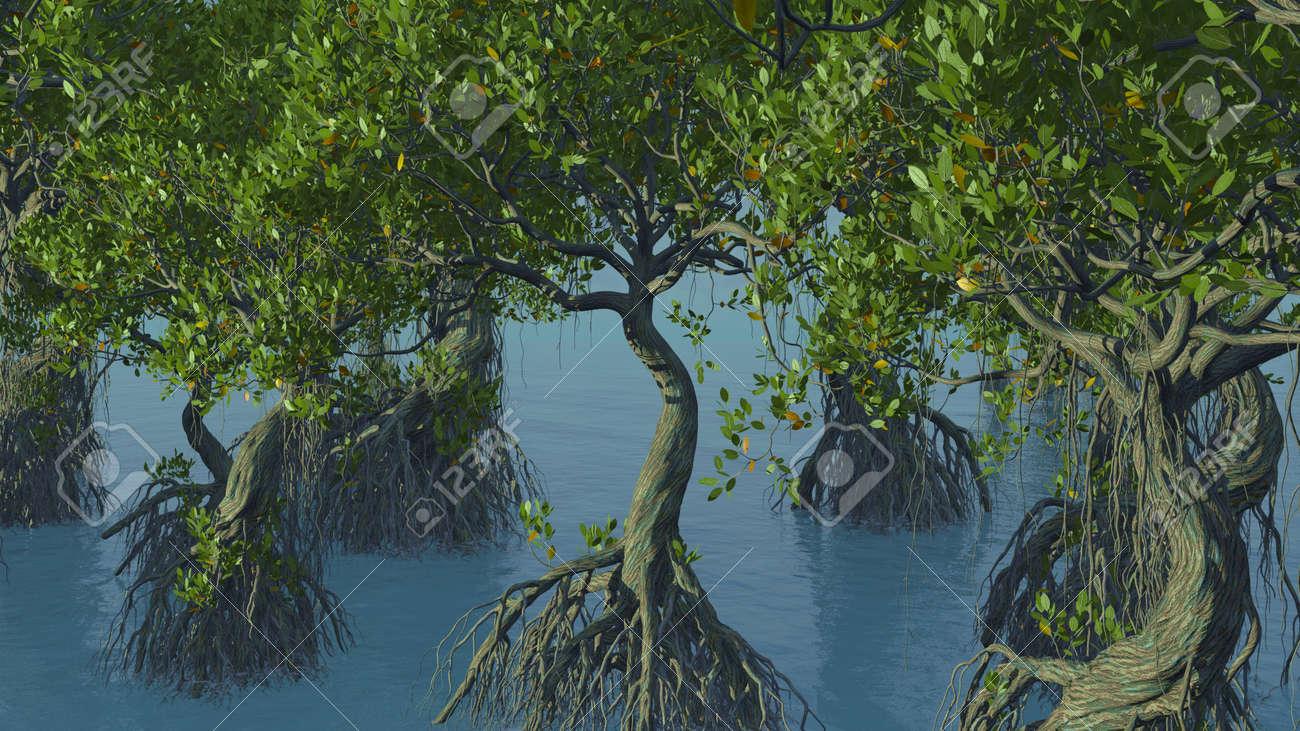 Red mangroves on Florida coast 3d rendering - 151839601