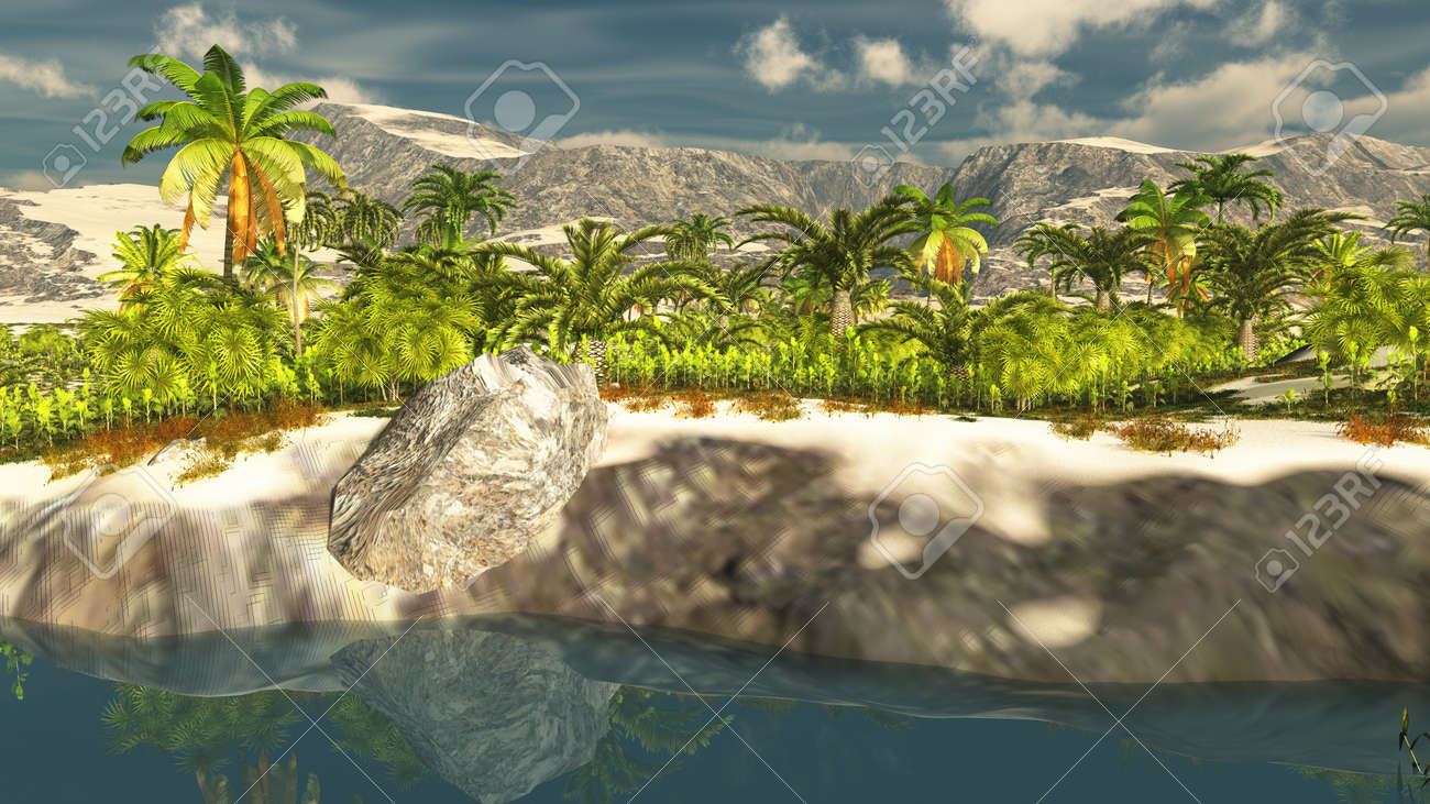 Beautiful natural background -African oasis 3d rendering - 152109393