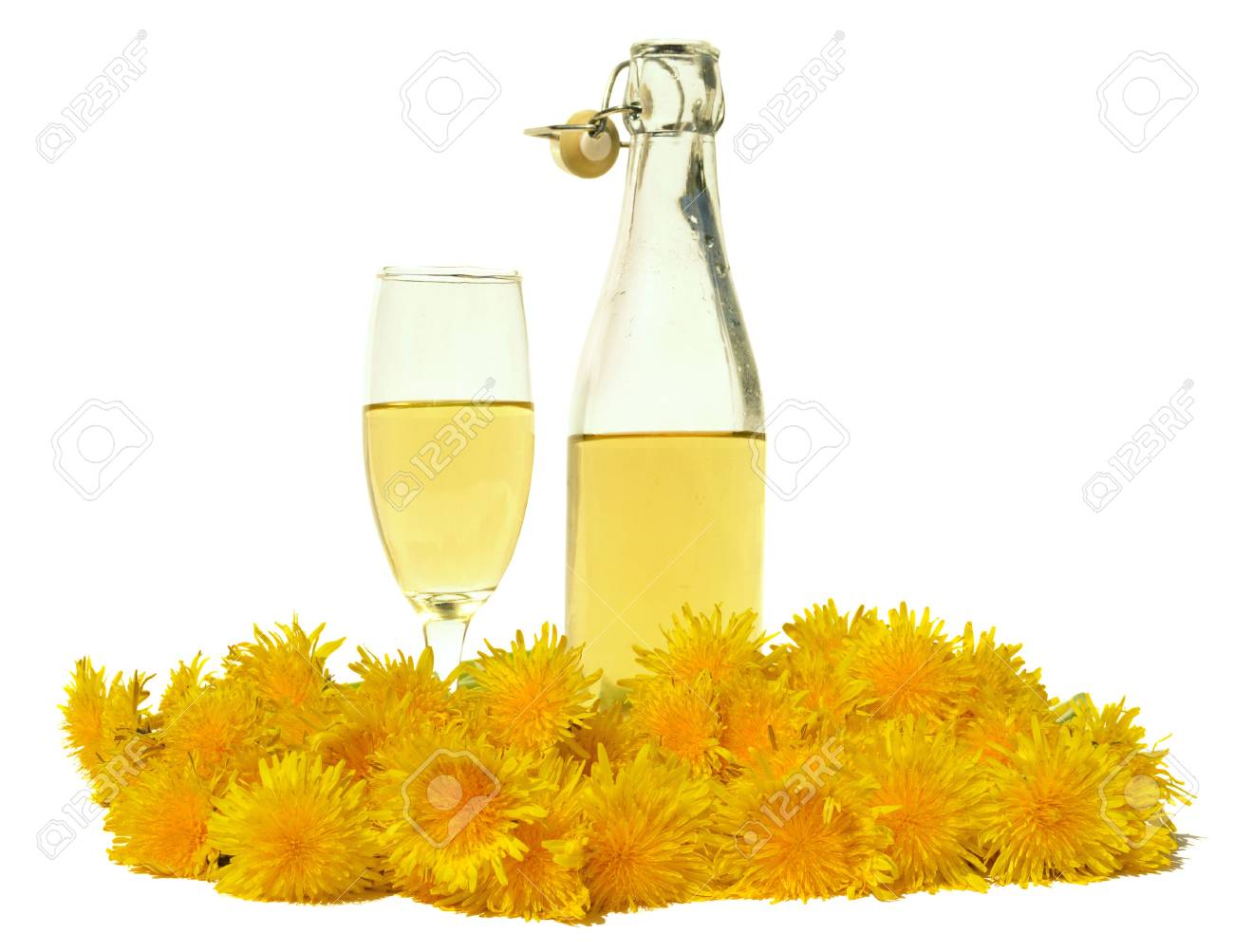 Dandelion Wine In Glass And Bottle Stock Photo, Picture And ...
