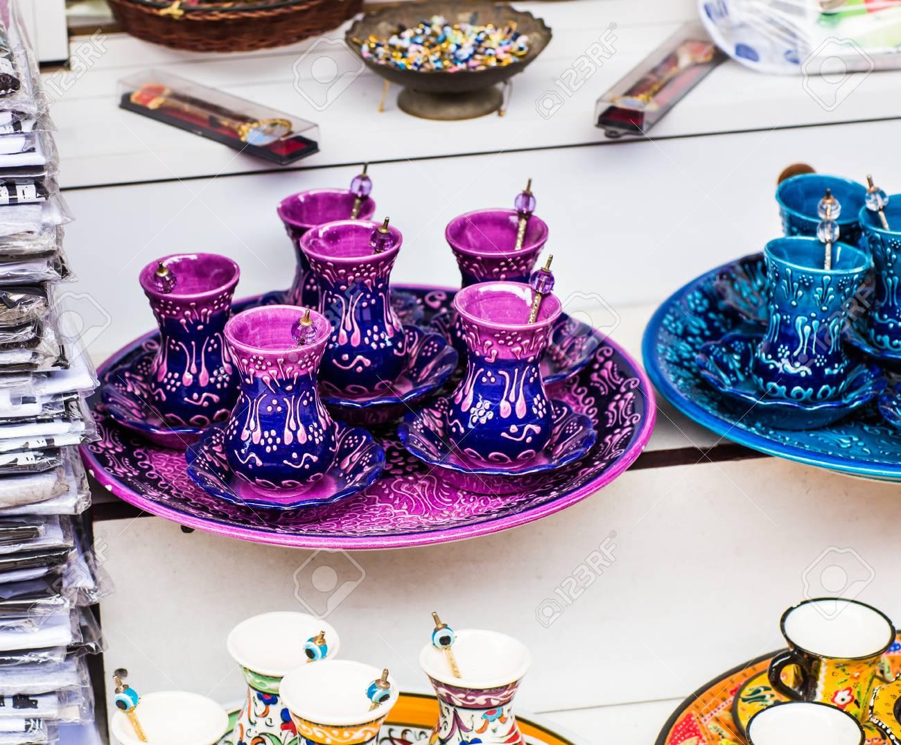 Hechos A Mano Juegos De Te Turco En El Mercado De Estambul Fotos