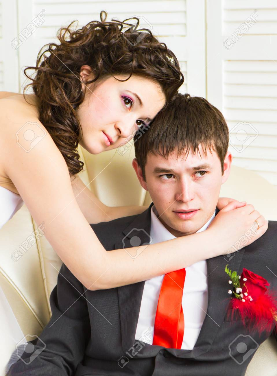 Beautiful Wedding Husband And Wife Lovers Man Woman Bride And Groom Stock