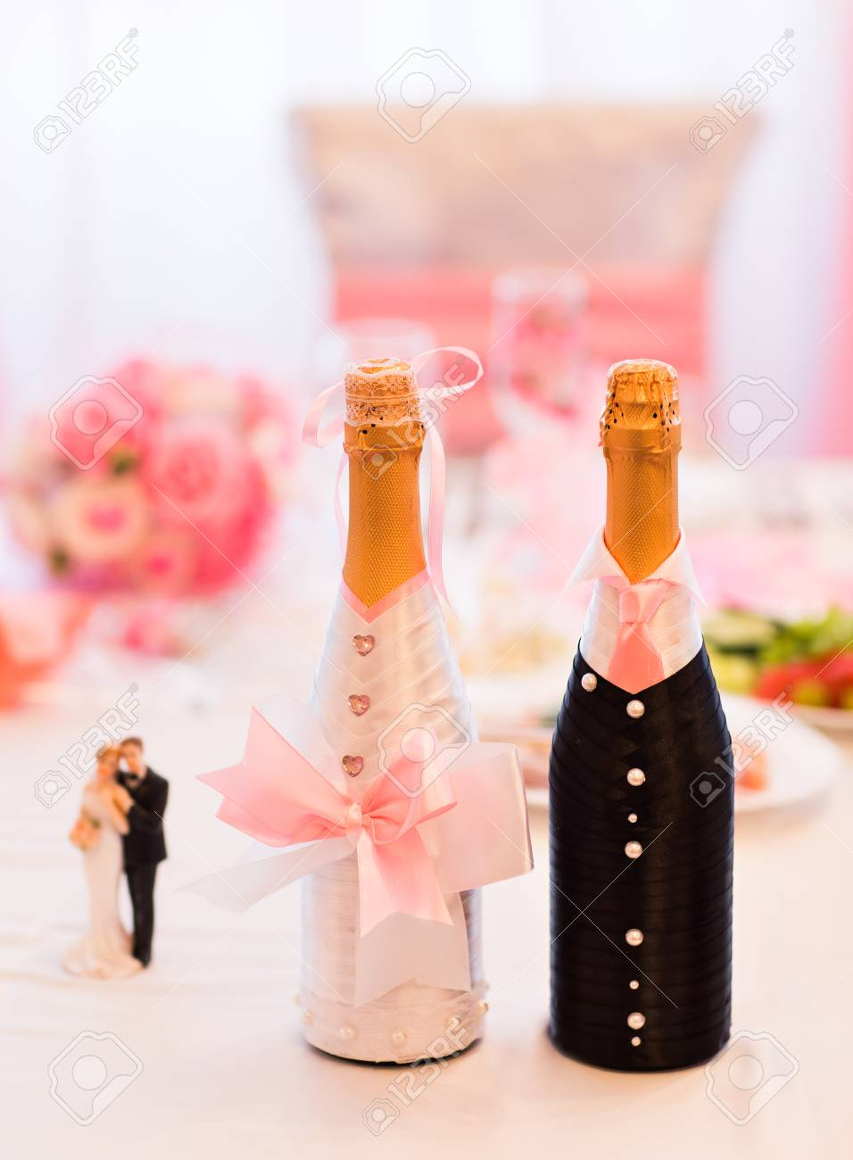 Champagne Bottles Decoration For Wedding Day. Wedding Decor Stock ...