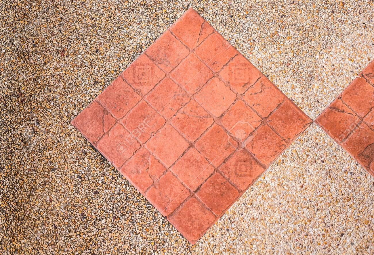 Brown Ceramic Floor Tiles Closeup Texture Outdoors Stock Photo