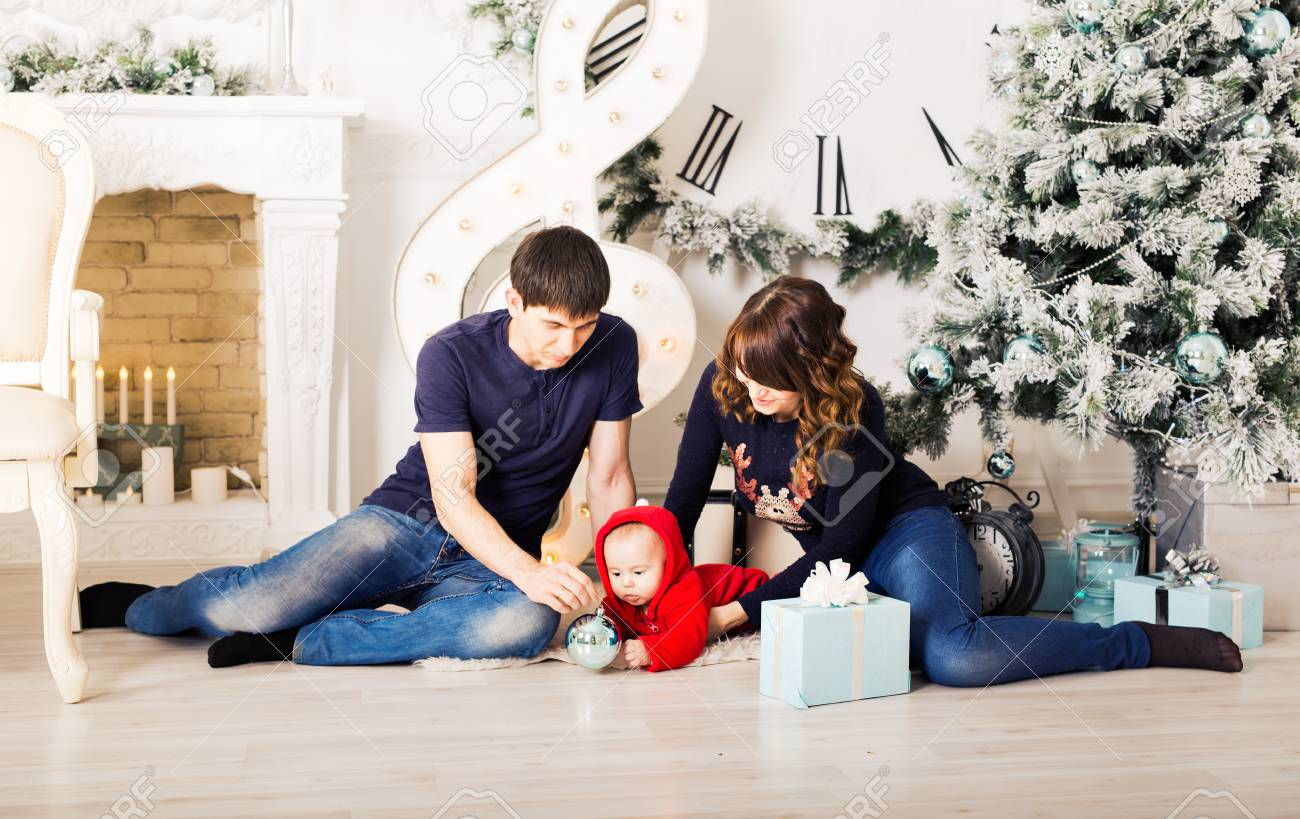 Christmas Family Portrait In Home Holiday Living Room Kids And