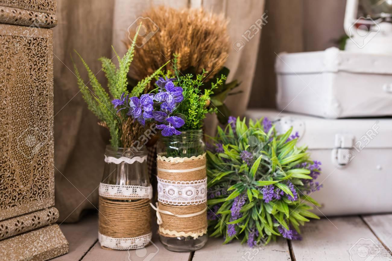 Bodegon Rustico Flores Secas Manojo Y Jarrones Vintage Fondo De - Jarrones-con-flores-secas