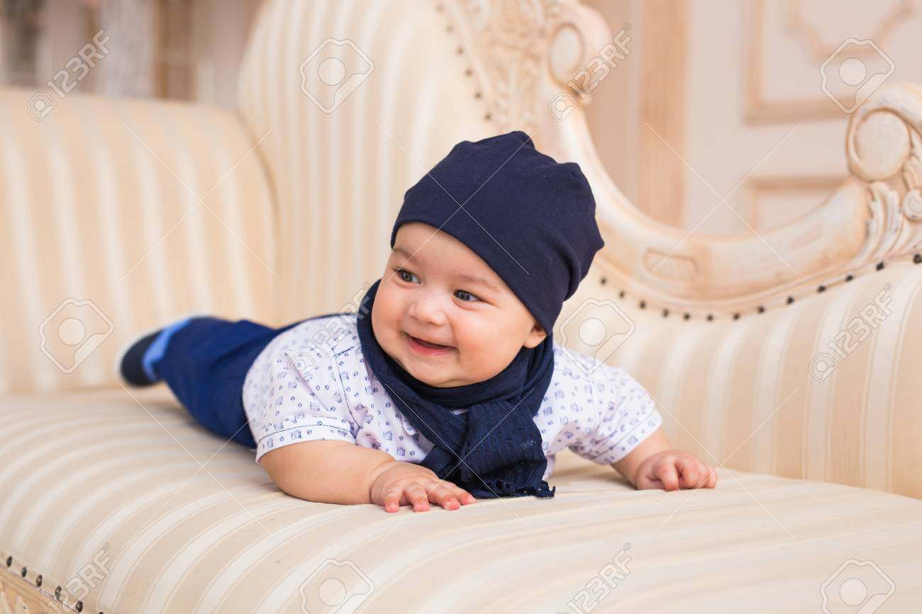 Portrait Of A Cute Baby Boy Smiling Adorable Four Month Old Stock