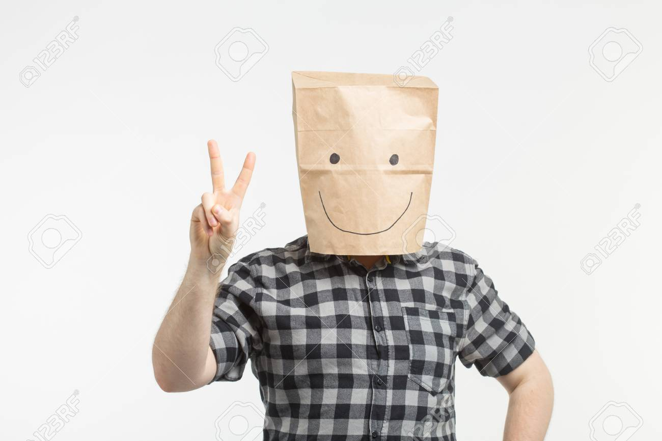 men in paper bag mask showing peace stock photo picture and royalty