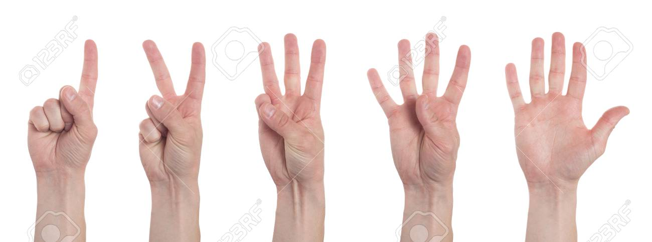 Male hands counting from one to five isolated on white background. Set of multiple images. Collage - 122624107