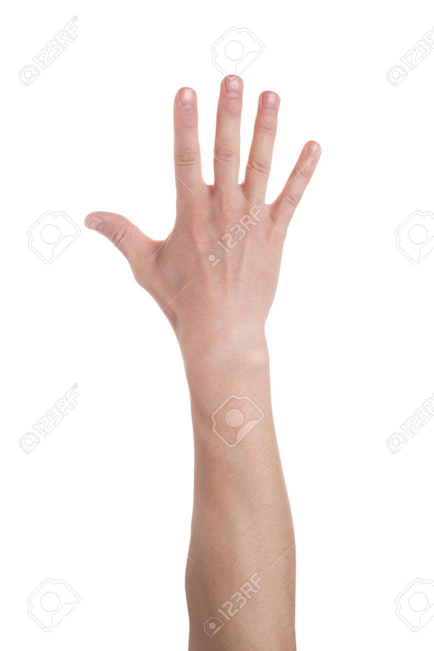 Man showing number five on white background. Close up - 122624462