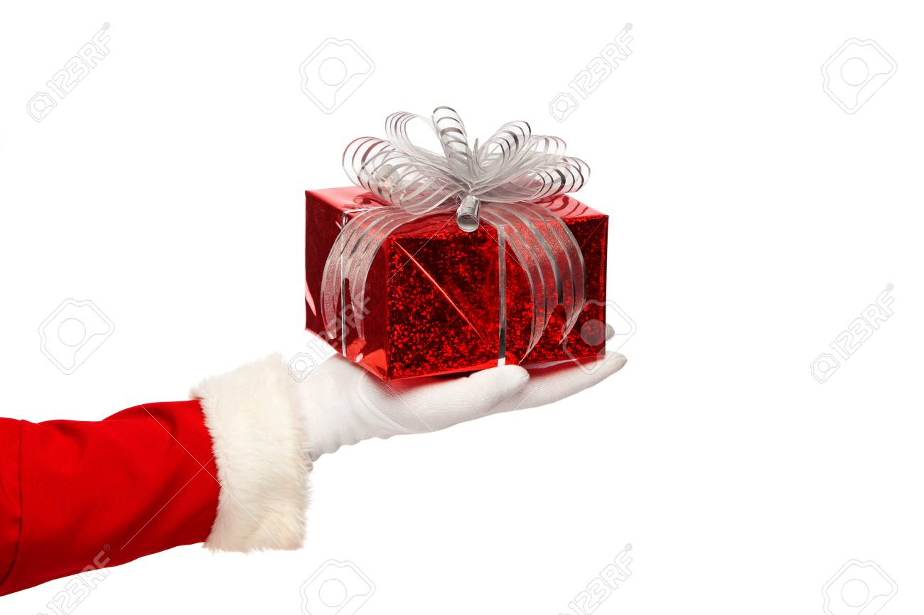 Santa claus giving christmas present box on a white background - 46517103