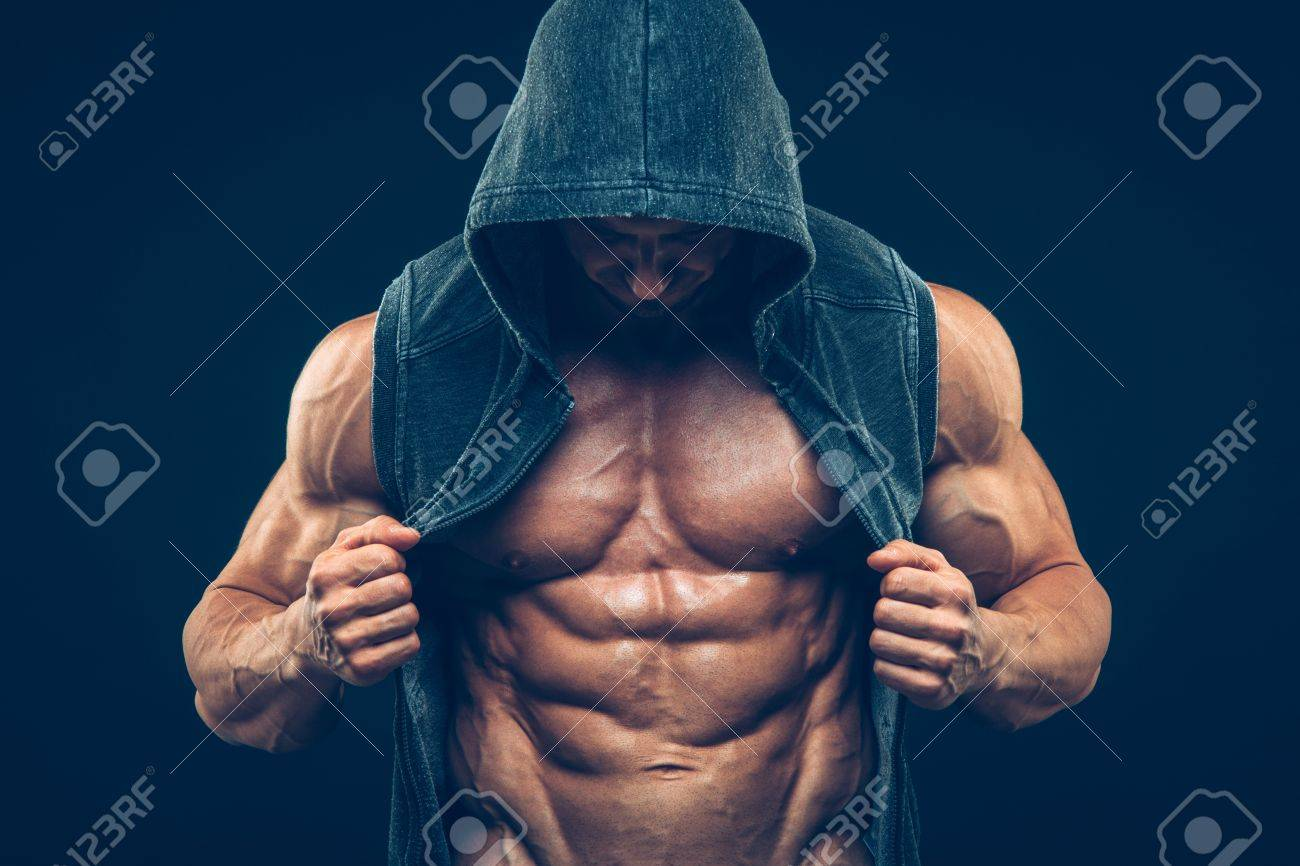 Man With Muscular Torso Strong Athletic Man Fitness Model Torso