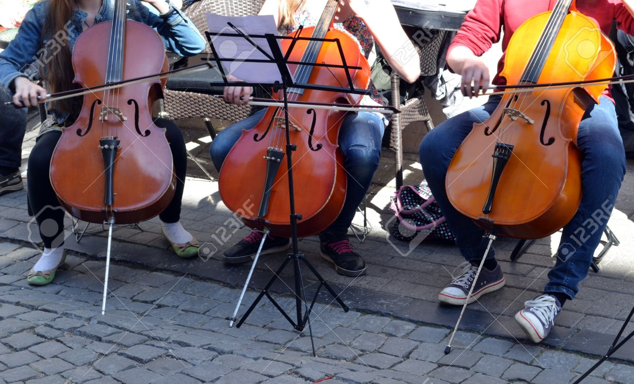 Young People Playing Cello Violoncello Bass Viol In Street Music