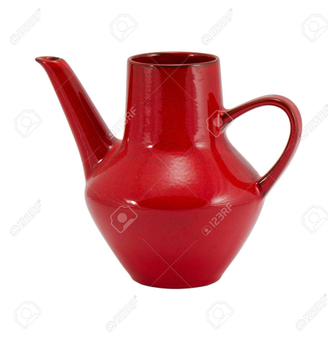 old retro ceramic clay red jug pitcher jar blackjack growler teapot with handle isolated on white background Stock Photo - 17252905