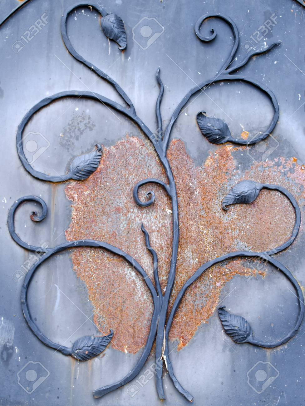 background of retro rusty metal gate closeup with decorations Stock Photo - 18123683