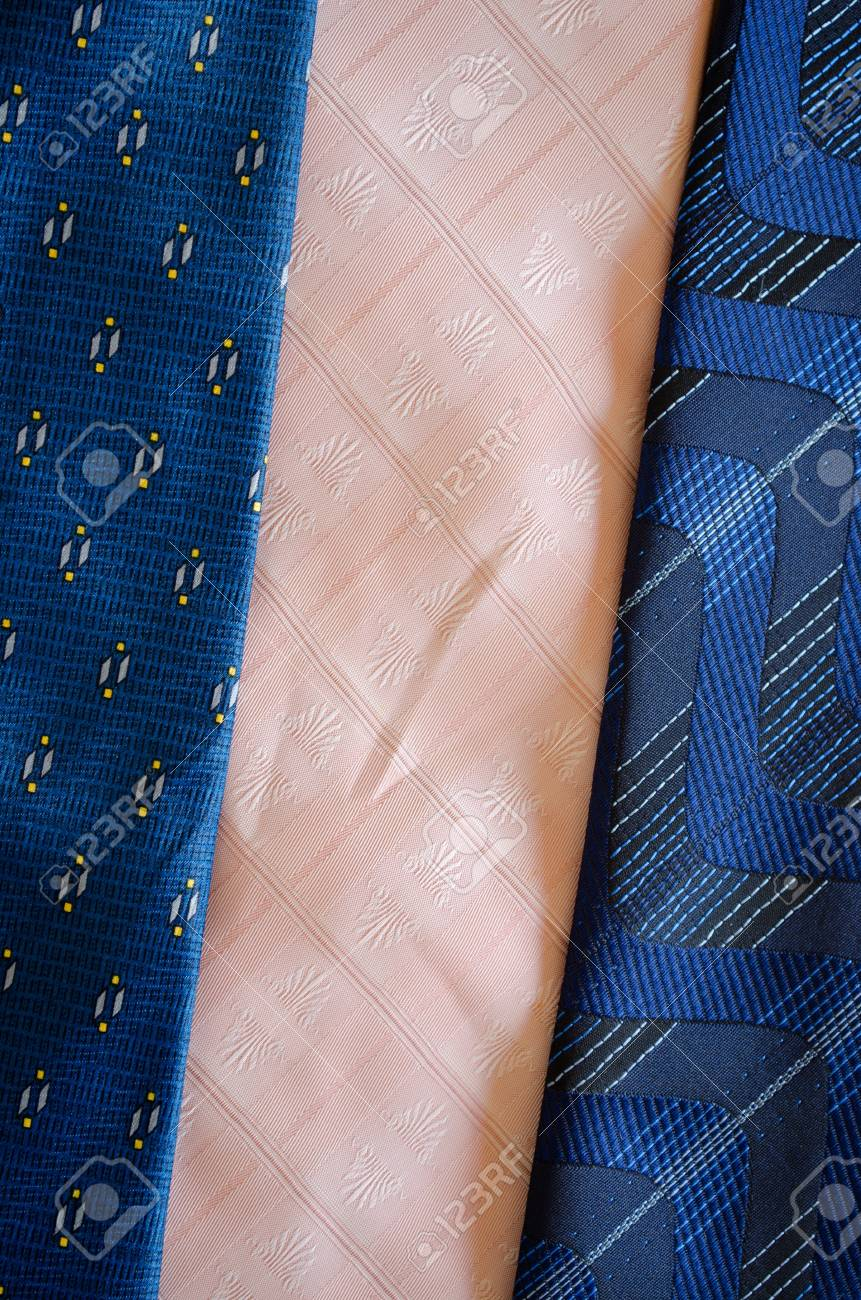 Corbata Corbata Bufandas Textura Patrón De Fondo Costuras Tela Azul ...