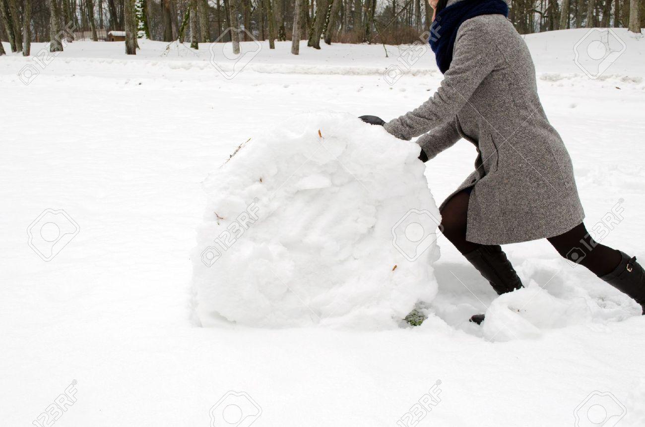 La Bola Gran En De Impulso Mujer Abrigo Nieve Gris El Rollo v6qIx8C