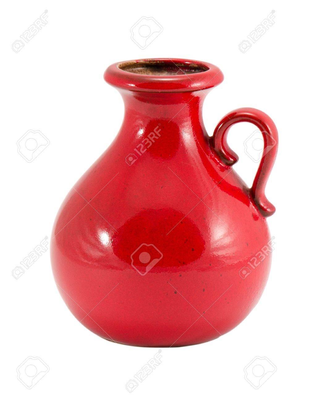 Red retro ceramic round flower vase with handle and small hole red retro ceramic round flower vase with handle and small hole isolated on white background stock reviewsmspy