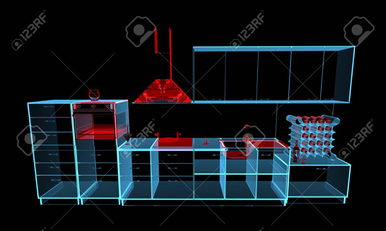 Cool Kitchen Furniture 3D Xray Red And Blue Transparent Isolated Machost Co Dining Chair Design Ideas Machostcouk