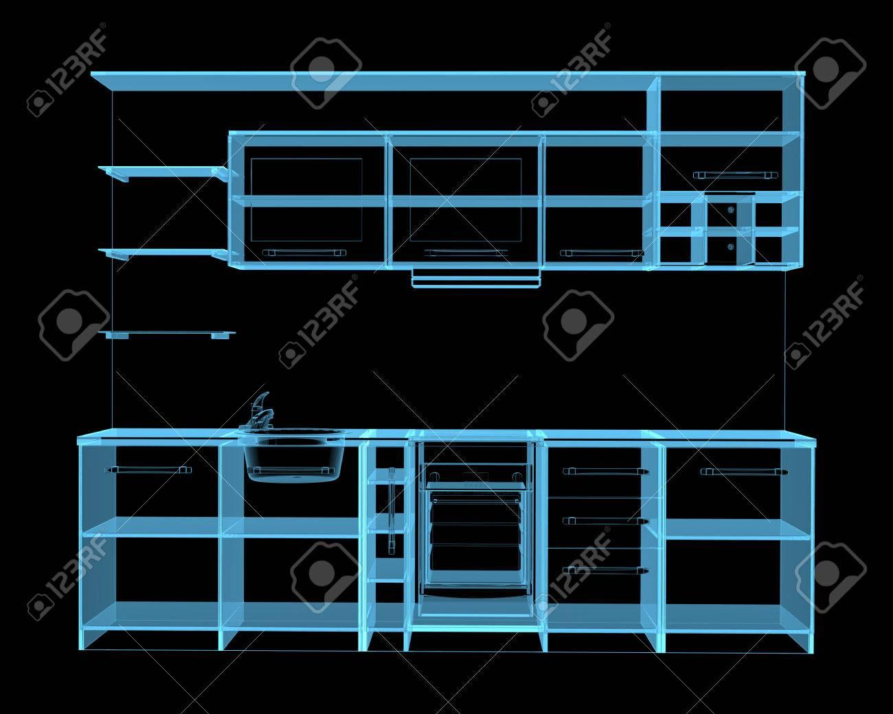 Küchenmöbel 3D-Röntgenstrahl Blau Transparent Lizenzfreie Fotos ...