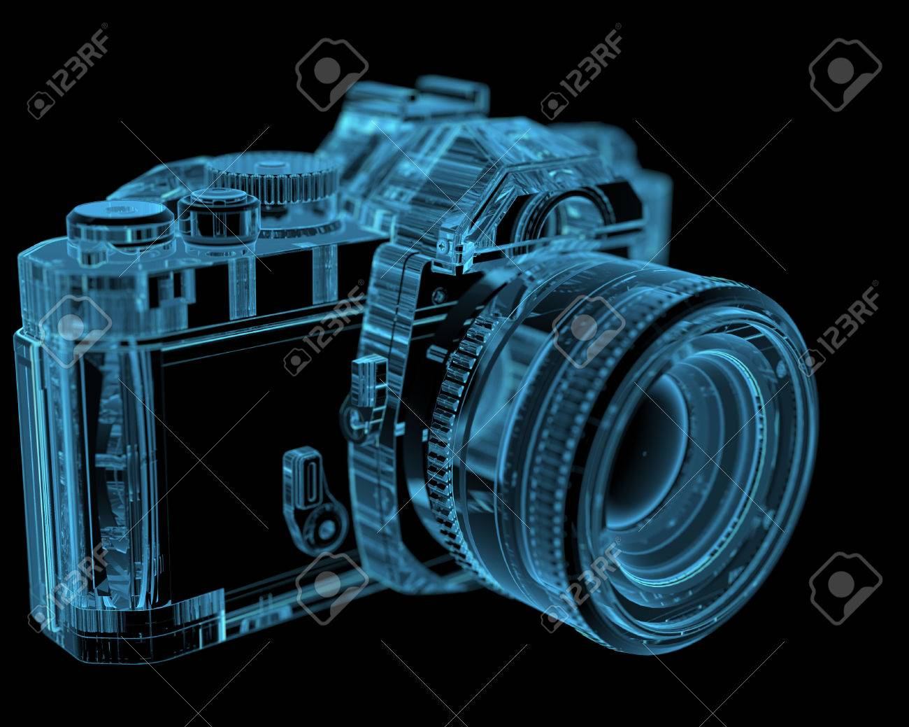 Camera 3d Dslr Camera dslr slr camera 3d xray blue transparent stock photo picture and 27466903