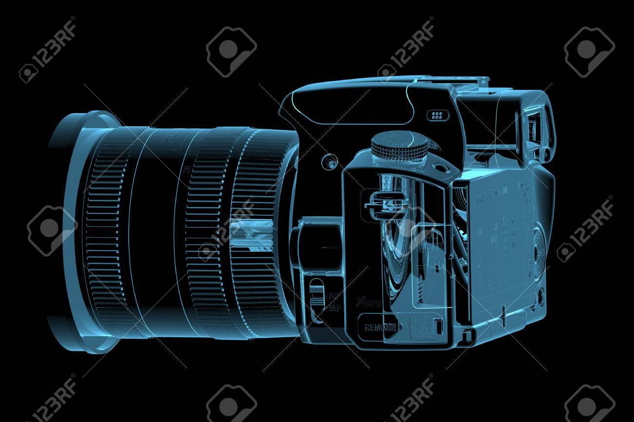 Camera 3d Dslr Camera profesional dslr camera 3d xray blue transparent stock photo 27466920