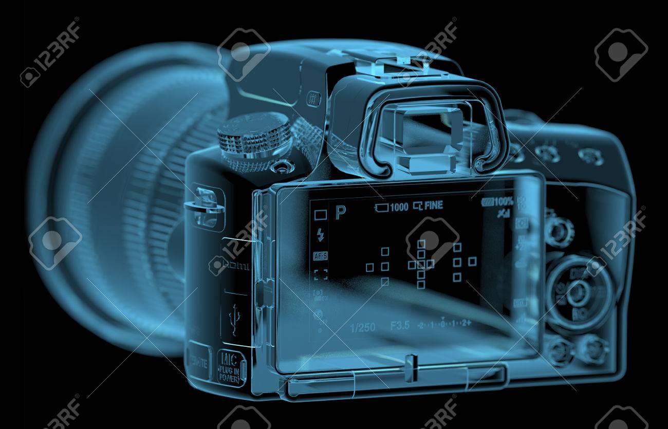 Camera 3d Dslr Camera profesional dslr camera 3d xray blue transparent stock photo 27466921