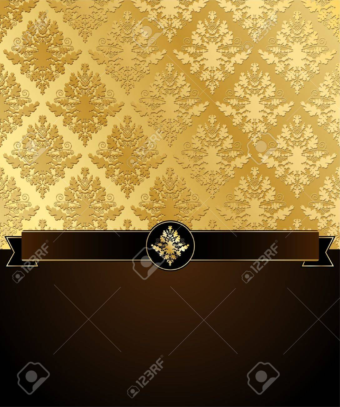 Vector illustration of Gold Damask with black ribbon and a dark brown place for text Stock Vector - 11661526