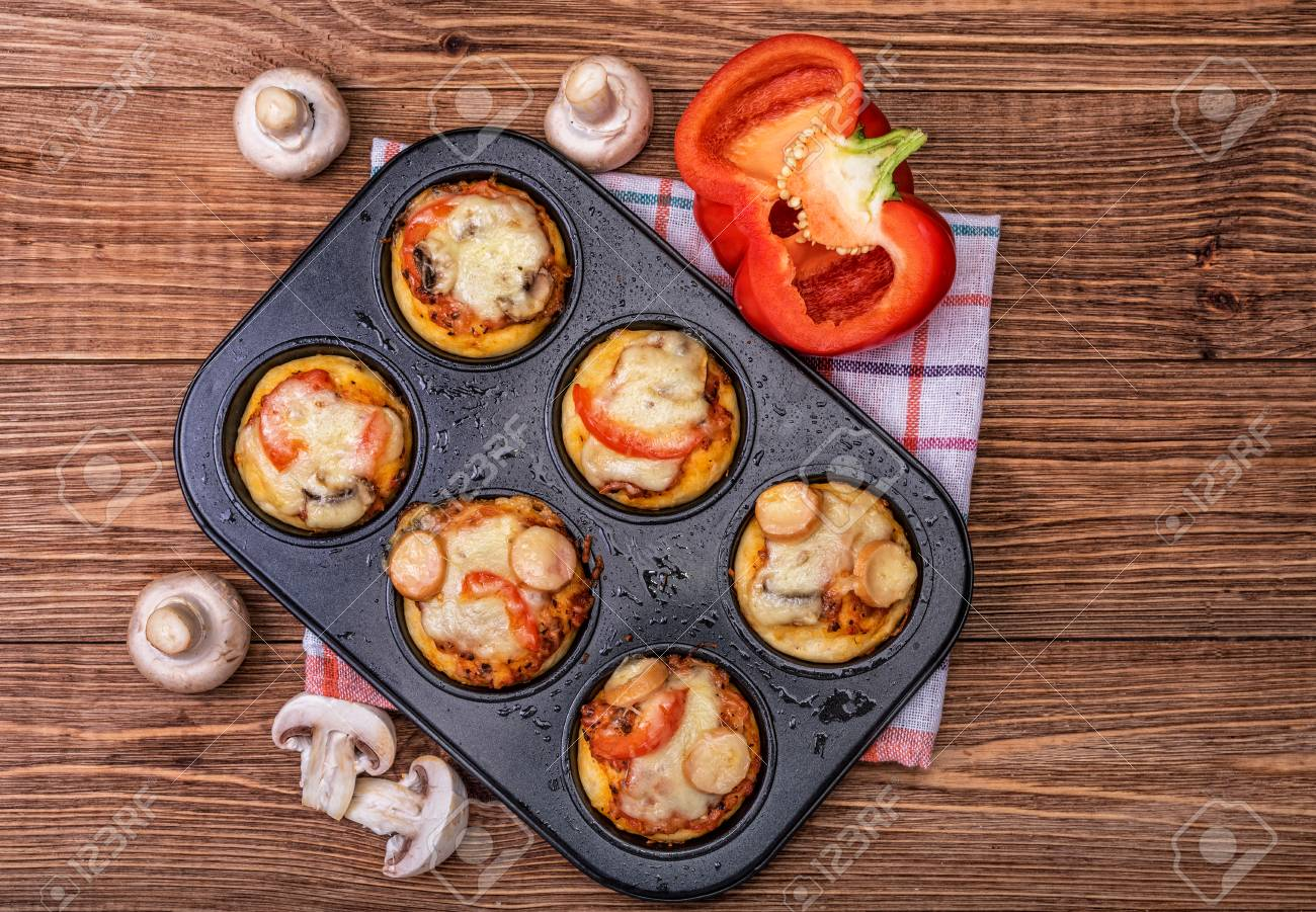 deep dish pizza cupcakes stock photo picture and royalty free