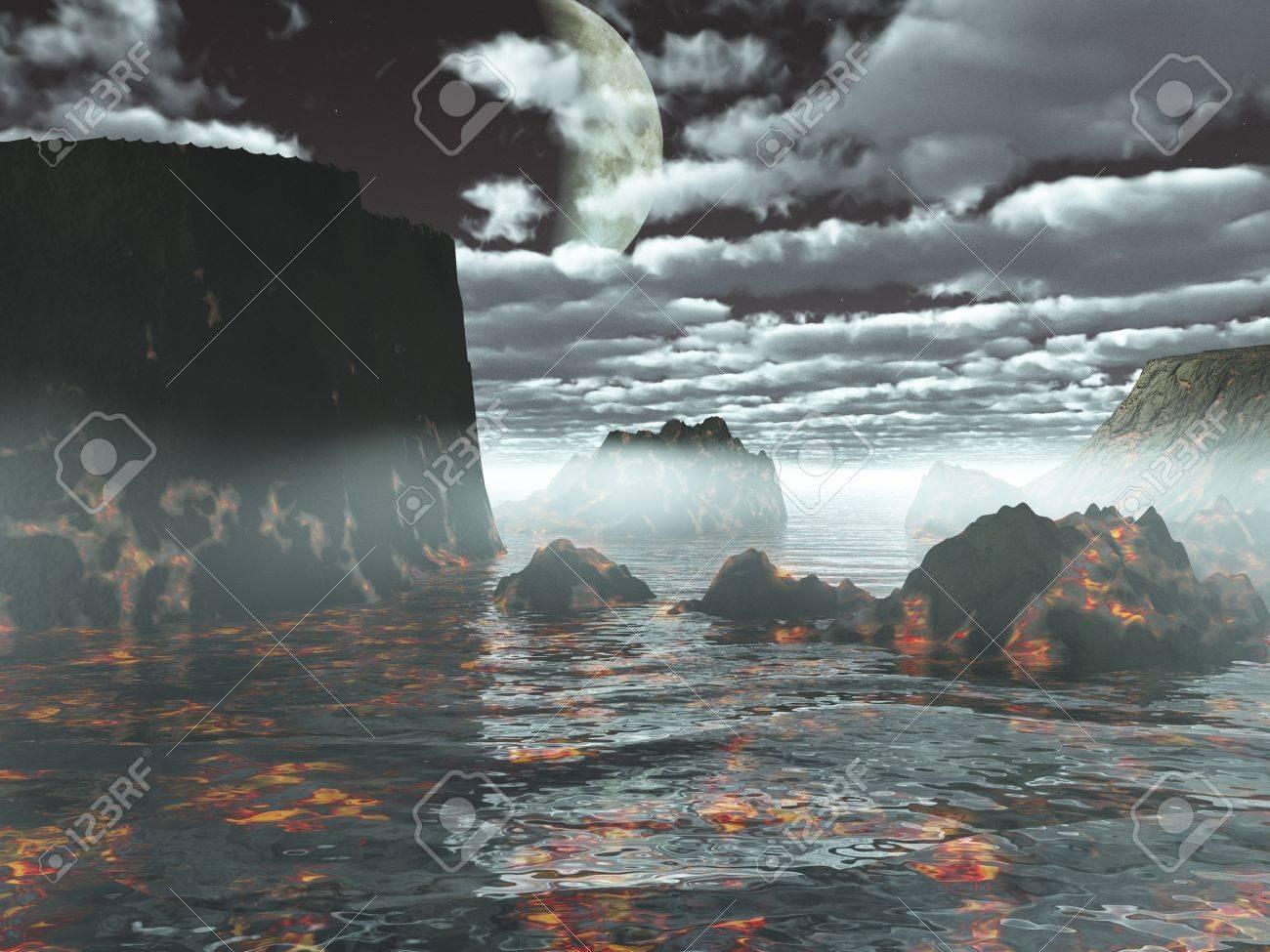 先史土地の火山 風景 イラスト 3 D のファンタジー の写真素材 画像素材 Image