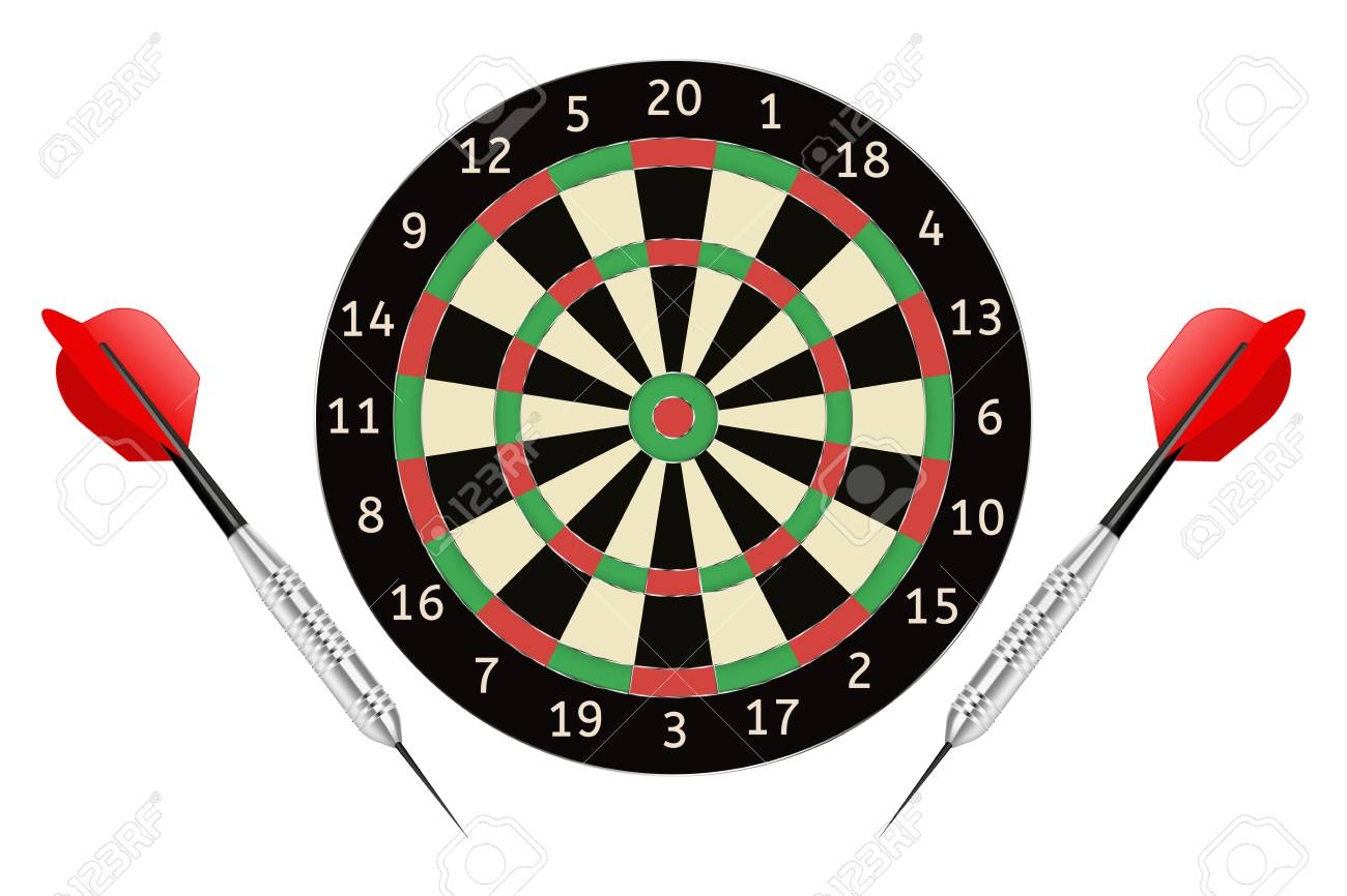 Darts board and darts arrows. Vector illustration isolated on white background - 66663116