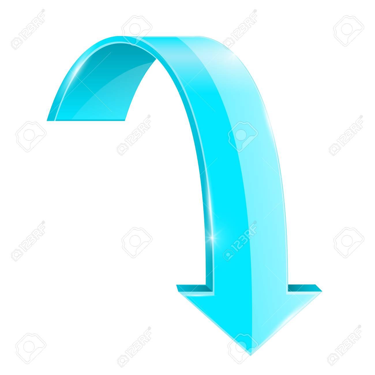 Flecha Hacia Abajo Azul. Forma Curva. Ilustración Aislada Sobre ...