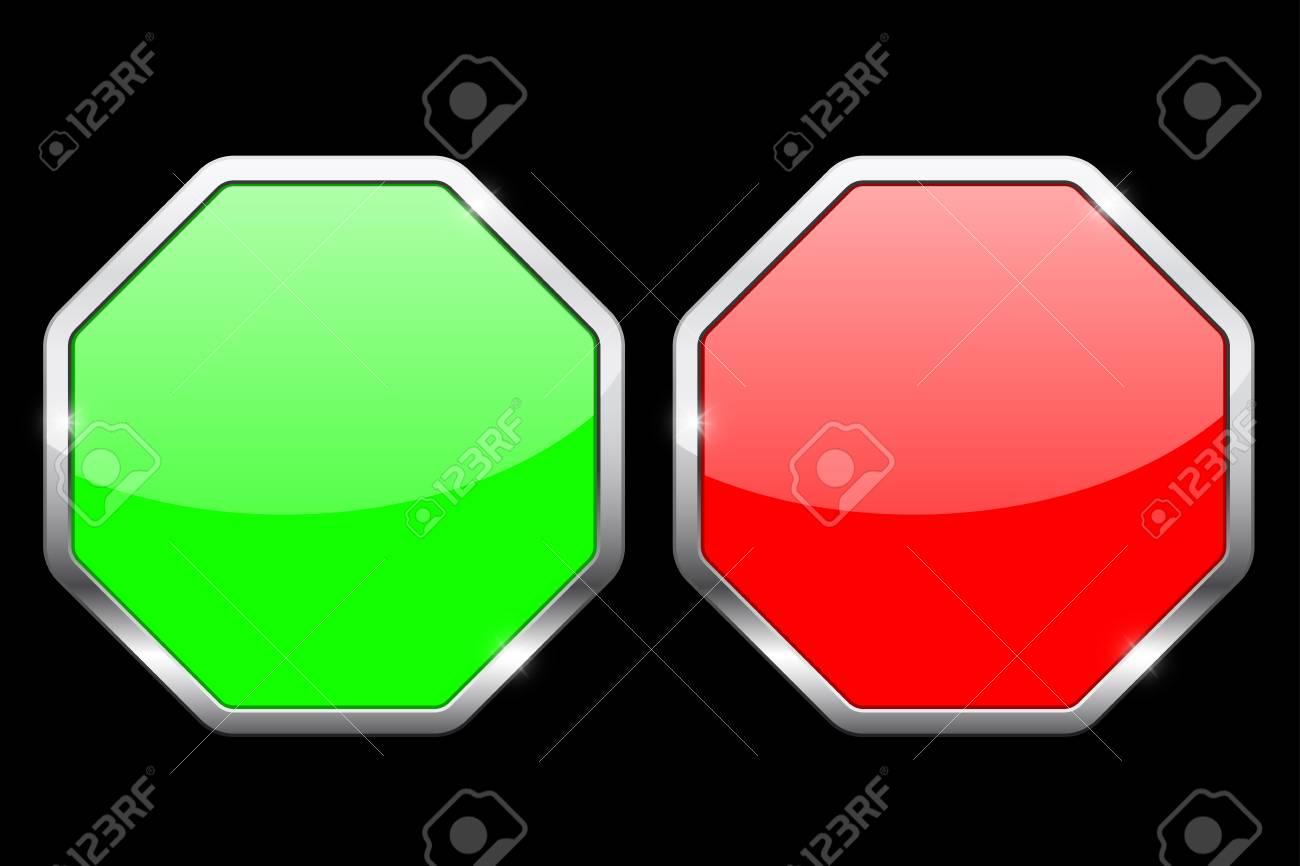 Iconos De Octágono. Iconos Verdes Y Rojos Con Marco De Cromo ...