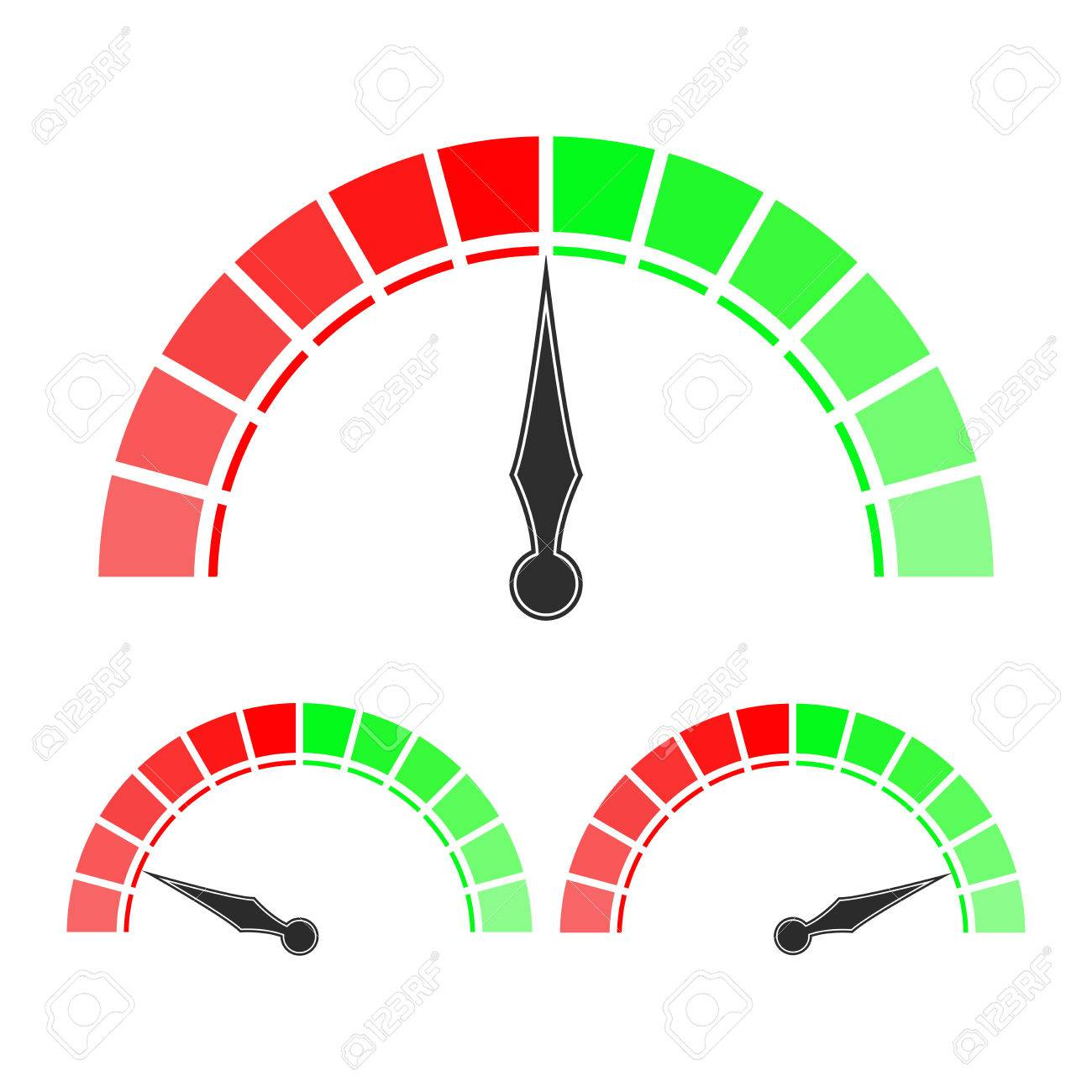 Lovely Measuring Scale, Red And Green Semi-circle Dial. Vector  WQ33