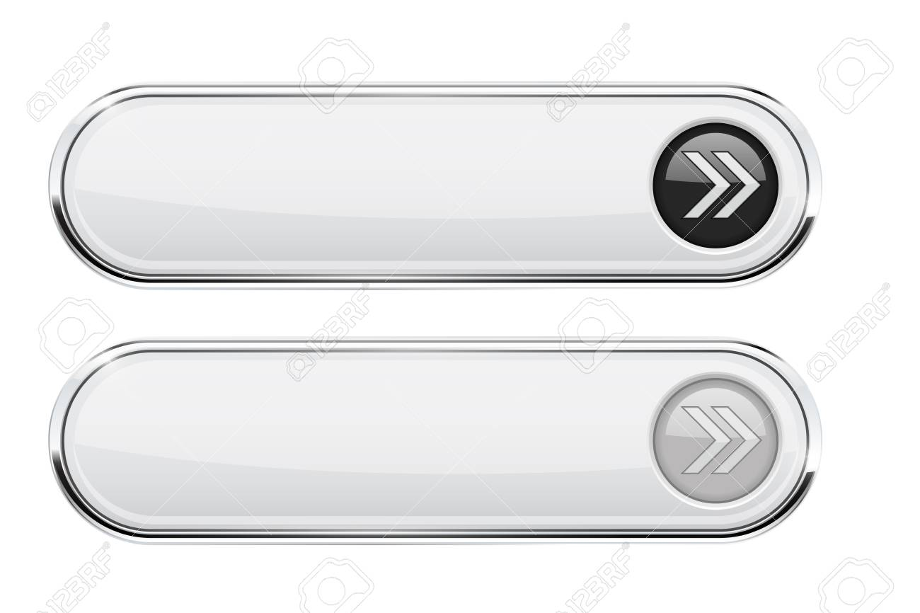 White buttons with arrows. Normal and active. Interface elements with metal frame - 75473757