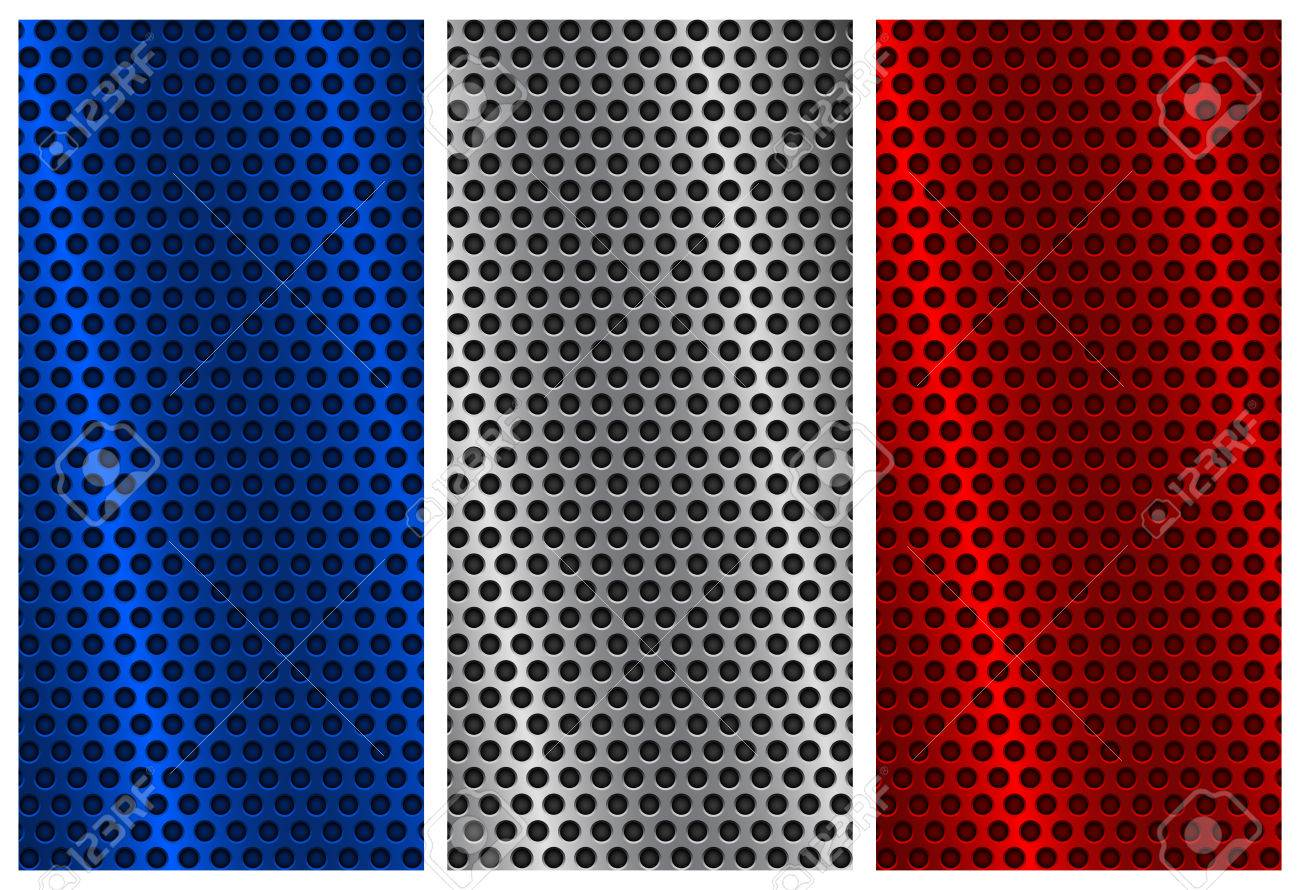 metal perforated backgrounds blue silver and red flyer templates