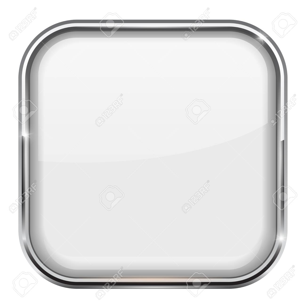 White Square Button. Shiny 3d Icon With Metal Frame Royalty Free ...