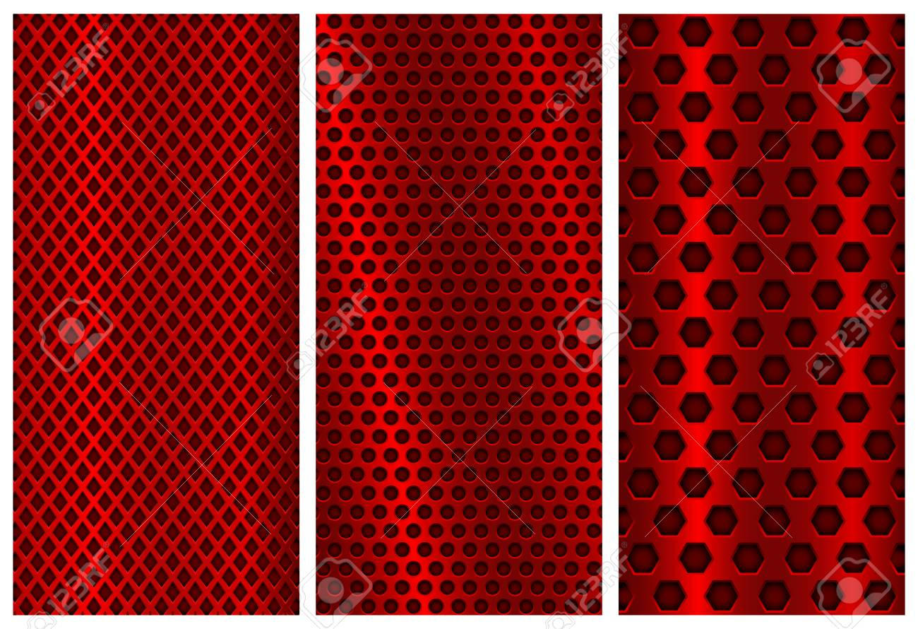 red metal perforated patterns brochure design templates steel