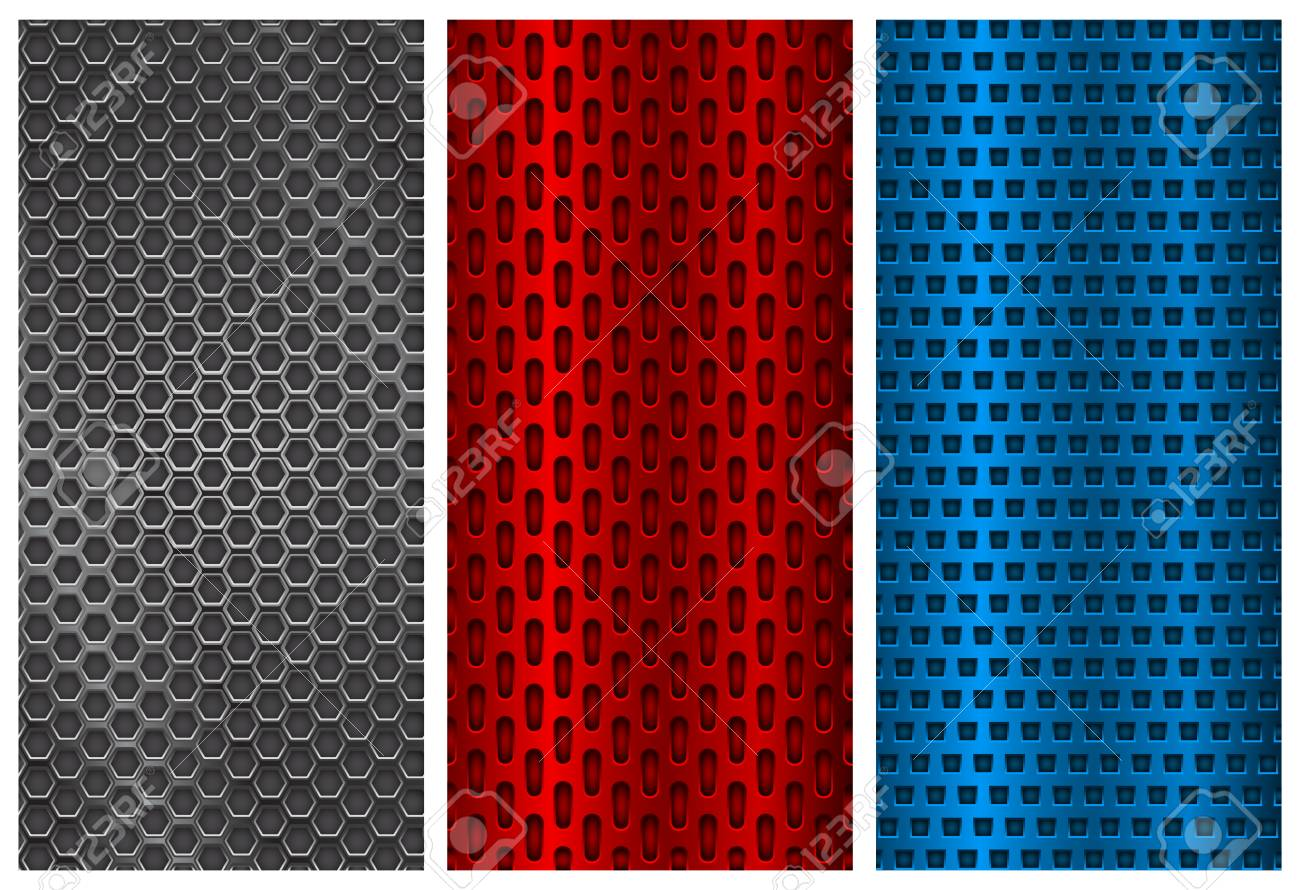 metal perforated patterns blue silver and red flyer templates