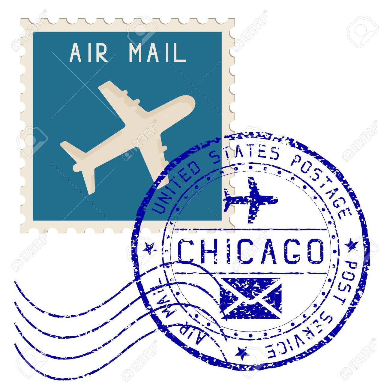 Sello De Correo Aéreo Chicago Poste Redondo Impresionar ...