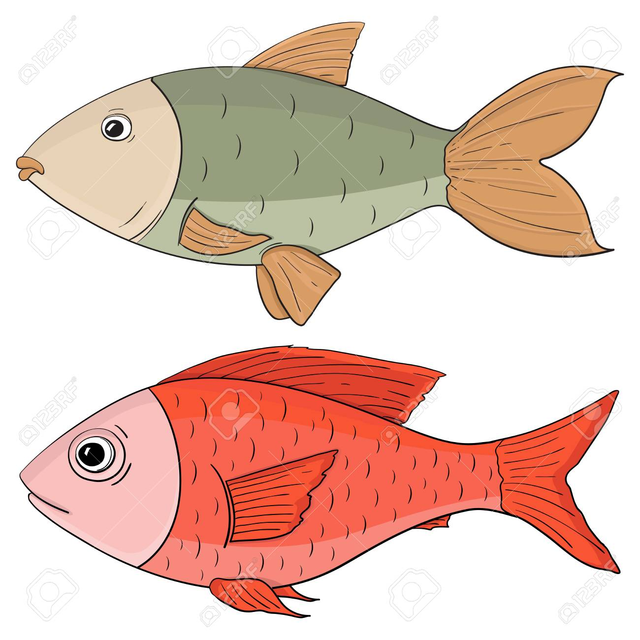 Fish. Colored Hand Drawing Royalty Free Cliparts, Vectors, And Stock ...