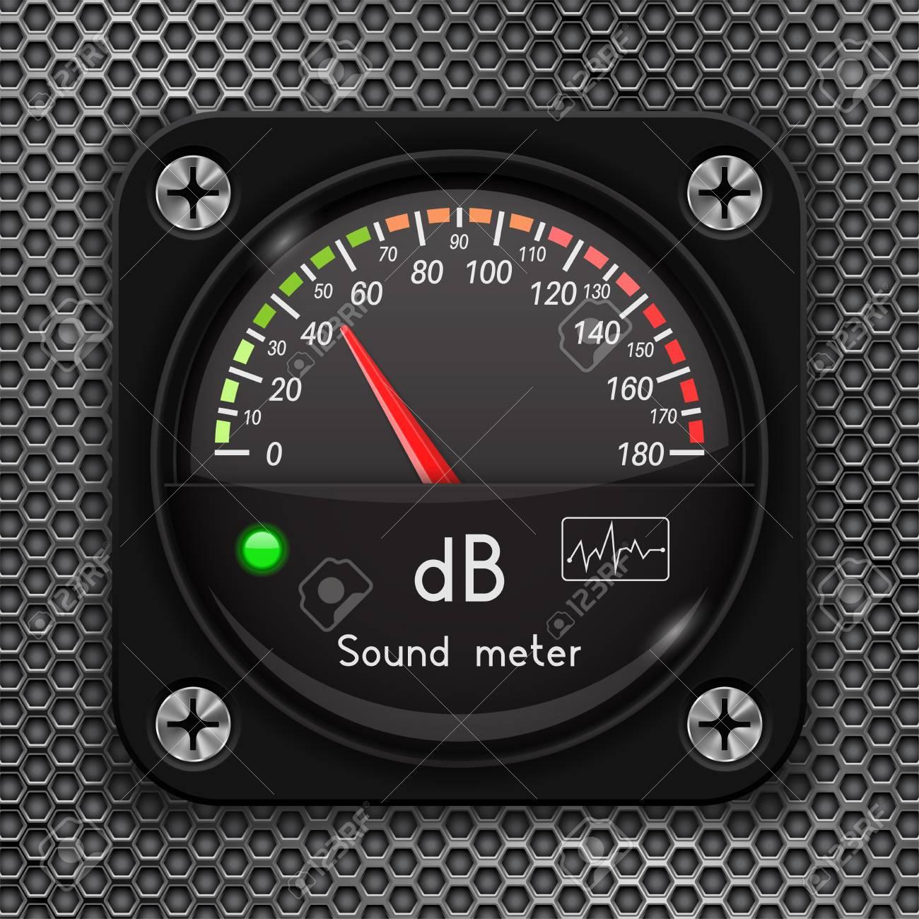 Volume unit meter  Decibel gauge  Sound audio equipment on metal