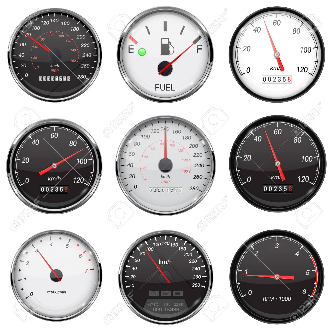 Car Dashboard Gauges With Metal Frame Collection Of Speed Stock
