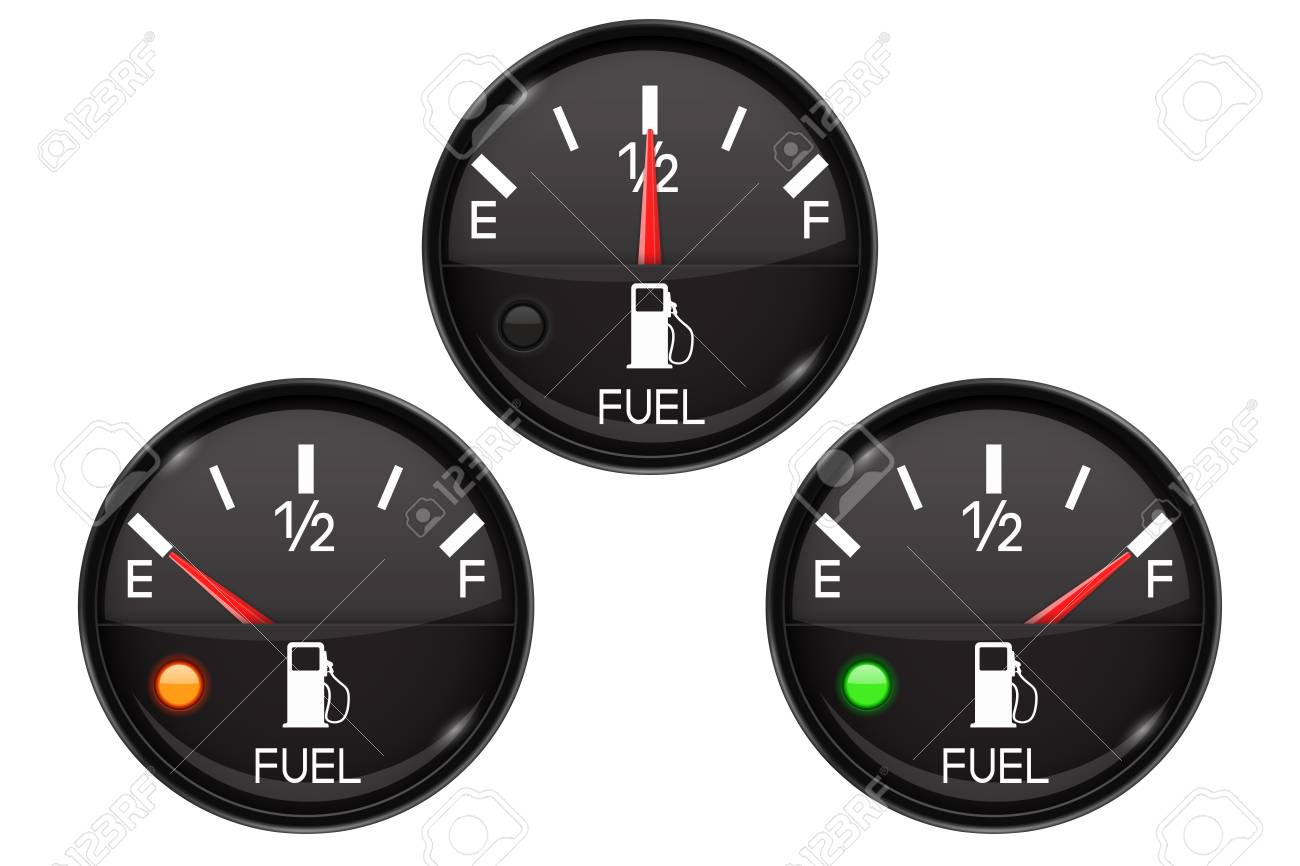 Fuel Gauge Set Of Round Black Car Dashboard 3d Devices With