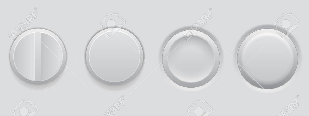White plastic buttons. 3d web interface elements. Vector illustration - 109817578