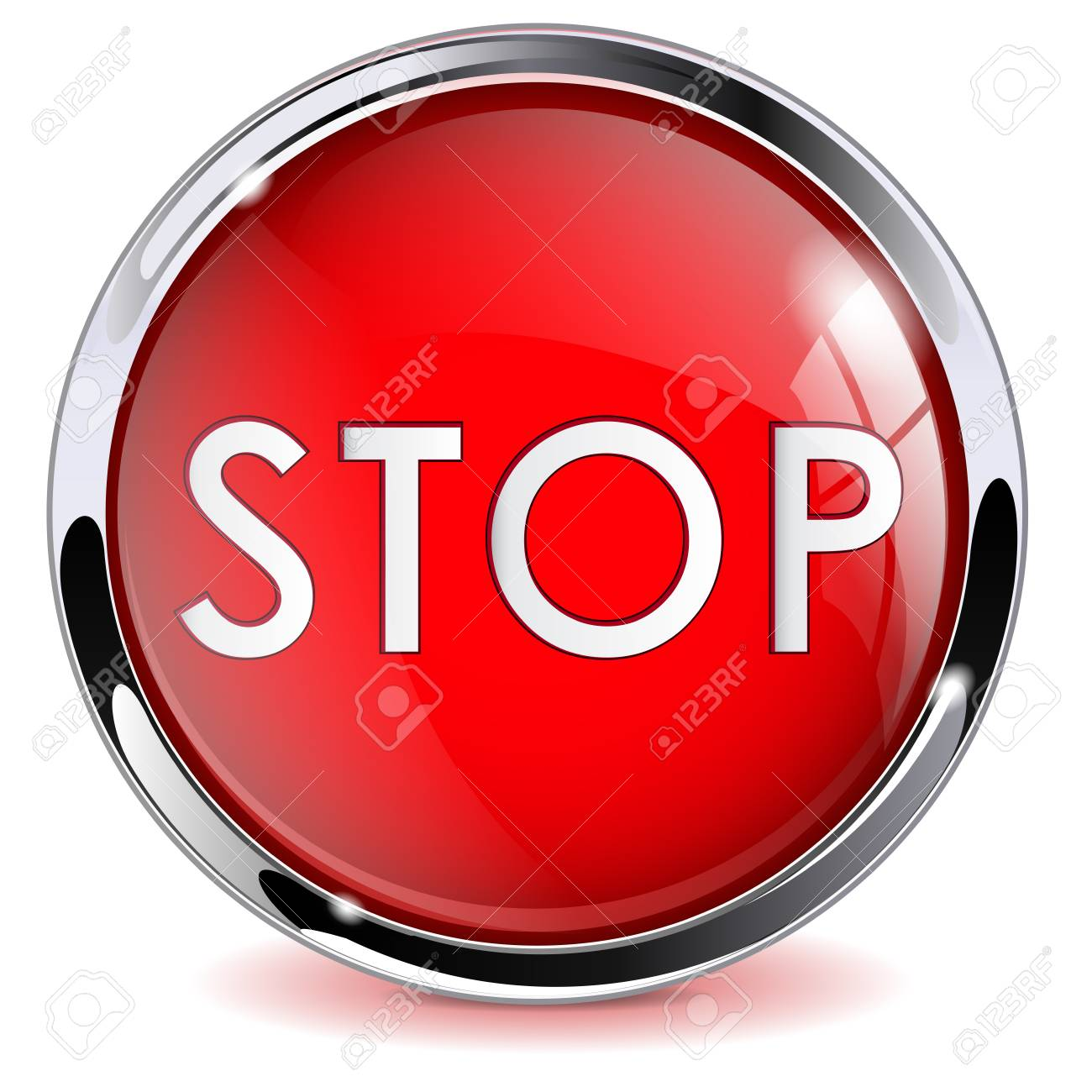 Red STOP button  3d shiny glass icon with metal frame  Vector