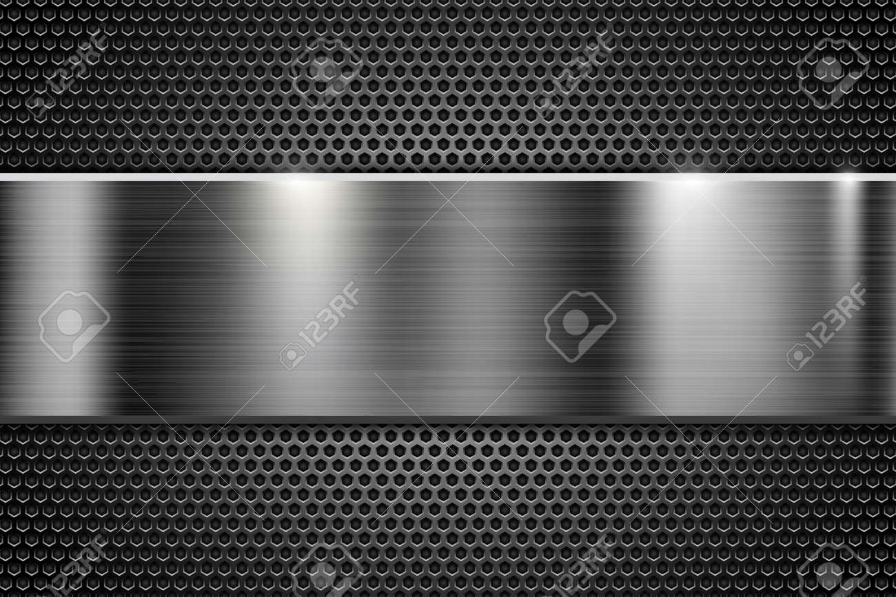 Metal perforated texture with steel horizontal element. Vector 3d illustration - 126807399