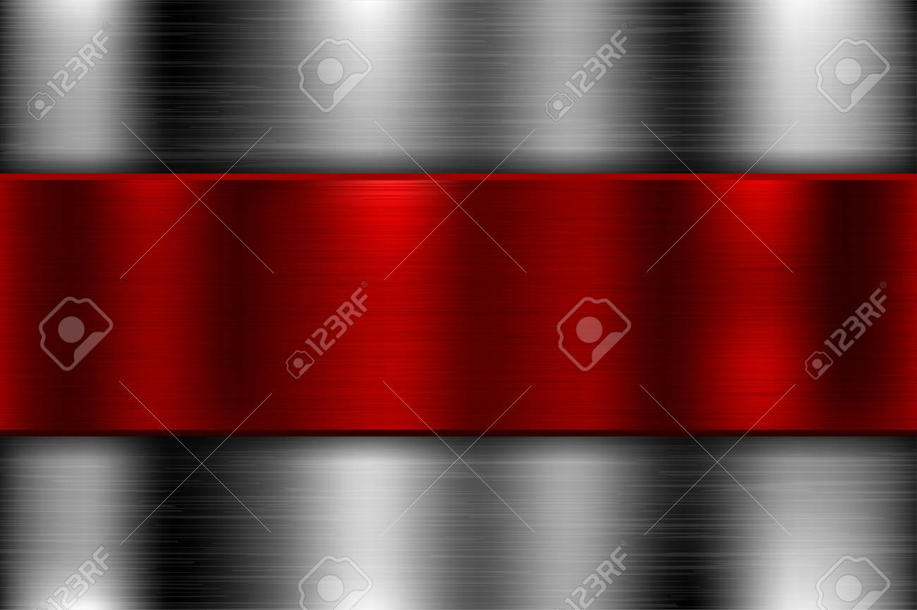 Metal background with red iron plate. Vector 3d illustration - 125782921