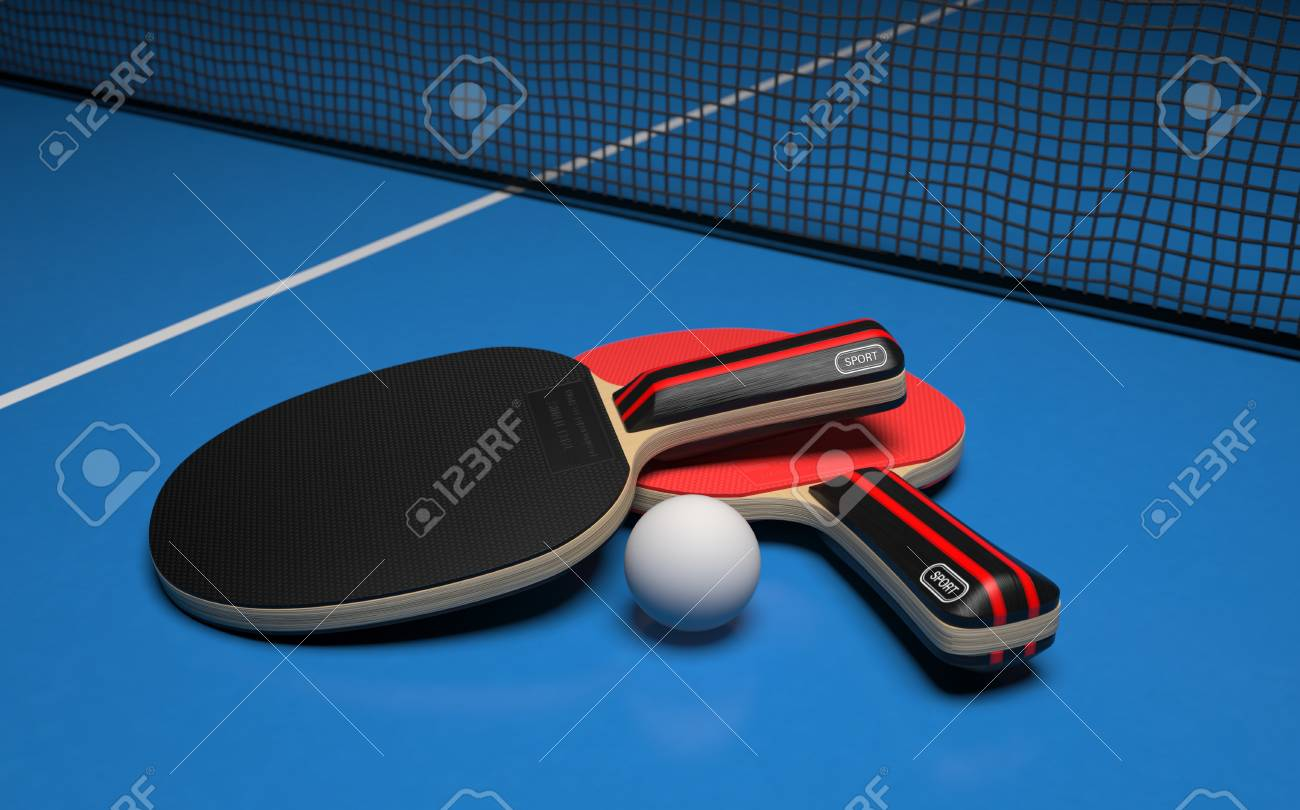 Table tennis set. Two rackets with ball on a blue game table. 3d rendering - 118583523